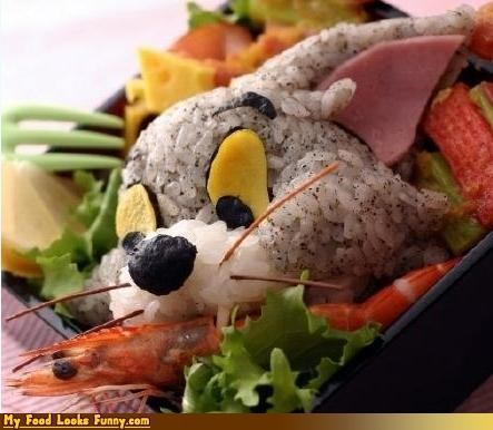 bento,cat,crab,meat,rice,shrimp,tom-jerry