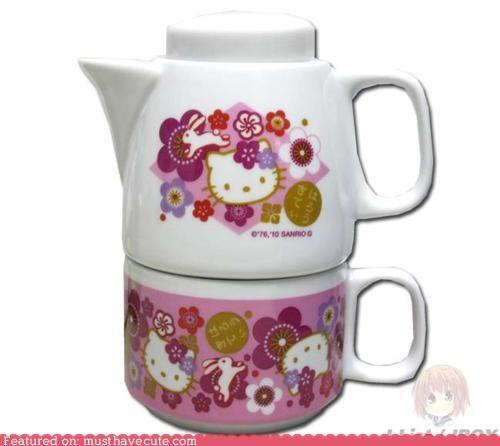 cup,hello kitty,mug,pink,pot,tea,teapot
