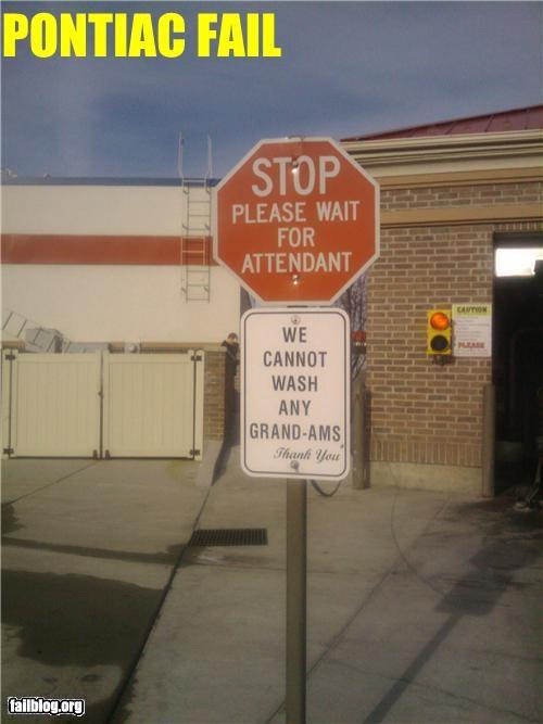 car,car wash,failboat,grand am,oddly specific,pontiac,sign