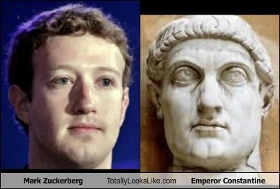 Emperor Constantine,facebook,historical figure,Mark Zuckerberg,roman,rome,statue