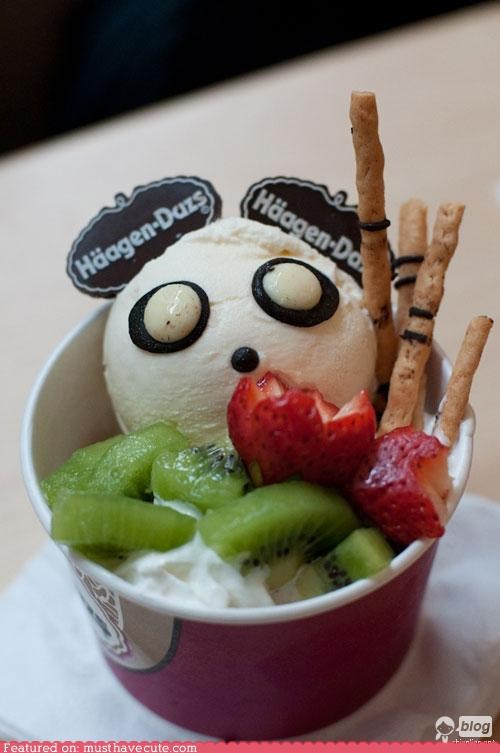 chocolate,epicute,face,fruit,haagen dazs,ice cream,panda,sundae