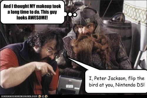 I, Peter Jackson, flip the bird at you, Nintendo DS!