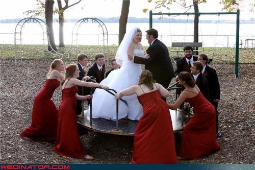 carousel,funny wedding photos,playground,wedding party