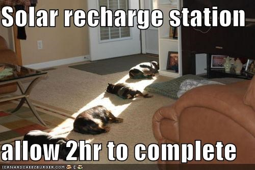 Solar recharge station  allow 2hr to complete
