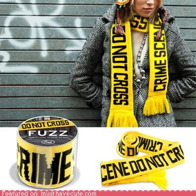 accessory,aparrel,crime scene,scarf,tape,yellow