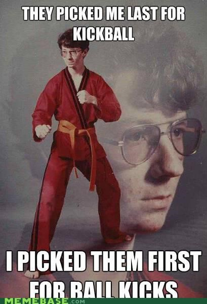 ball kicks,Karate Kid,kickball