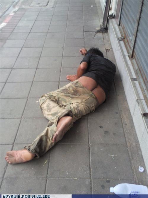 butt,crack,drunk,pants,passed out,sidewalk,street