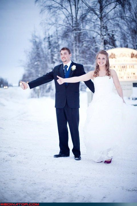 bride,funny wedding photos,groom,hitching a ride
