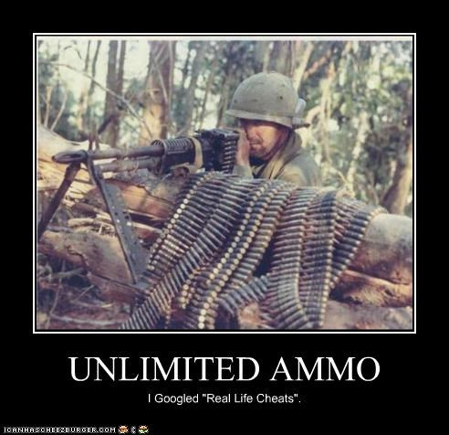 ammunition,bullets,cheats,military,unlimited,video games