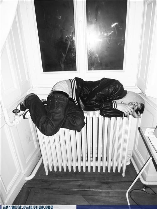 bed,drunk,Heat,passed out,radiator,sleep