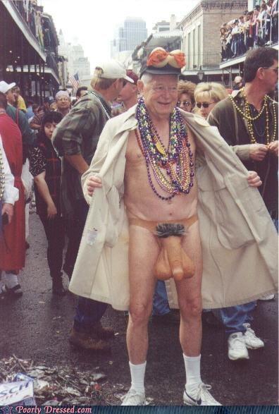 beads,costume,Grandpa,Mardi Gras,penis,weird