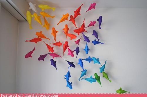 decor,fish,origami,paper,wall