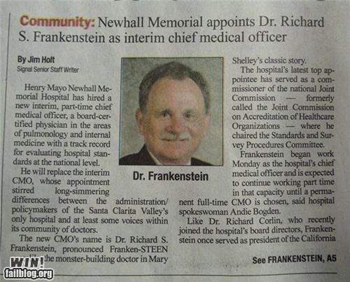 completely relevant news,doctor,frankenstein,monster,names