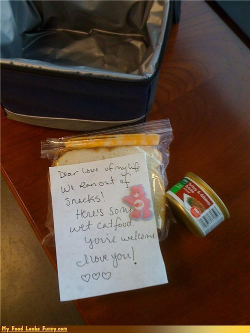 care bear,cat food,lunch,note,snacks