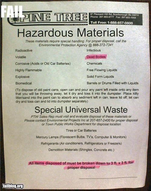Hazardous Waste Fail