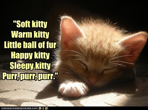 """Soft kitty Warm kitty Little ball of fur Happy kitty Sleepy kitty Purr, purr, purr."""