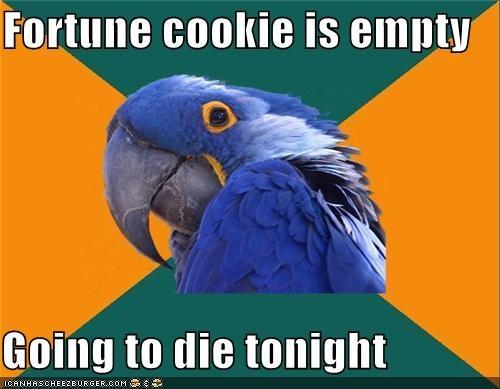 empty,fortune cookie,misfortune,no fortune,Paranoid Parrot