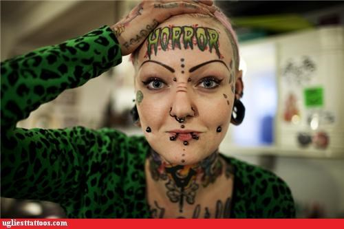 face tats,piercings,words