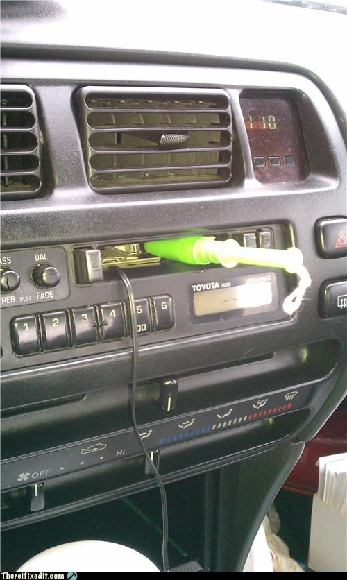 car,car stereo,gross,hold it open,tampon