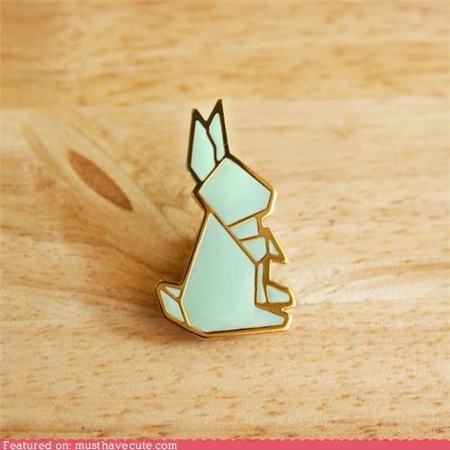 bunny,green,lapel,origami,pin,rabbit