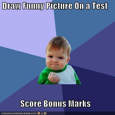 Success Kid: Draw Funny Picture On a Test