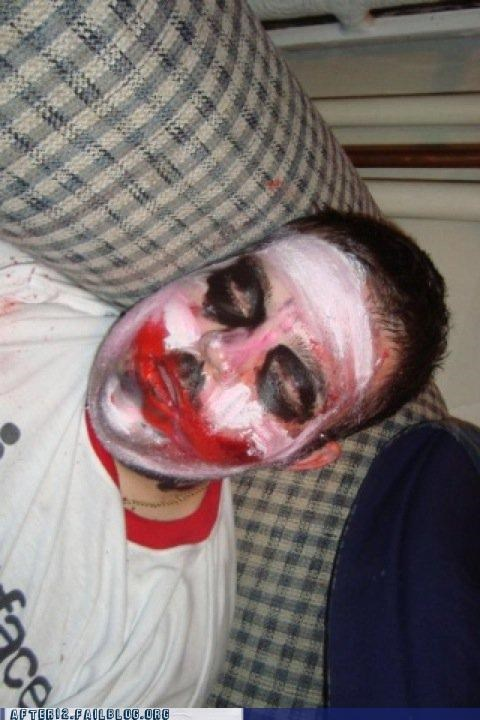 batman,dark knight,drunk,heath ledger,joker,makeup,passed out