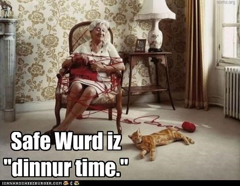 "Safe Wurd iz ""dinnur time."""