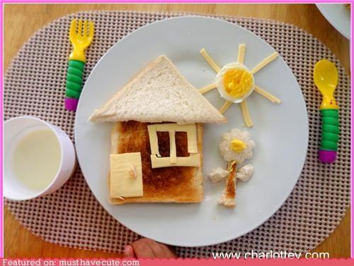bread,breakfast,cheese,egg,epicute,Flower,house,sun,toast