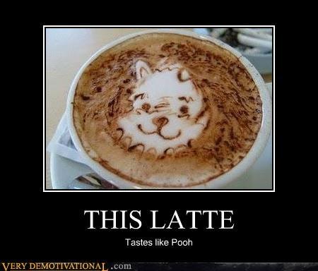 art,coffee,latte,winnie the pooh