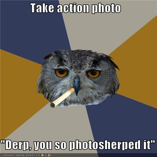 "Take action photo  ""Derp, you so photosherped it"""