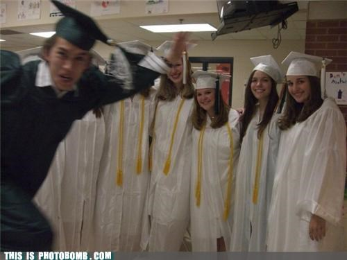 caps,gowns,graduation,green,ladies,Perfect Timing,white