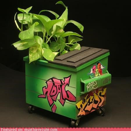 desk,dumpster,graffiti,planter,tabletop