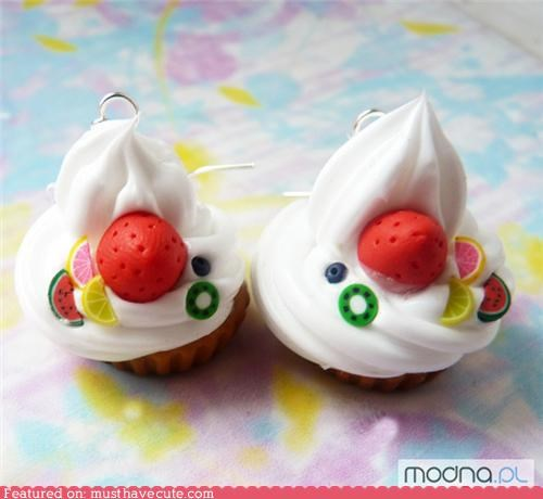 Fruity Whipped Cream Cupcake Earrings