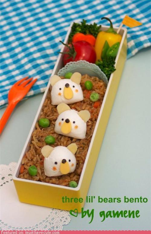 bears,bento,egg,epicute,lunch,peas,rice,veggies