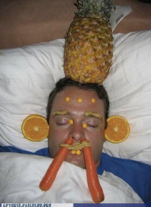carrot,drunk,gross,mustard,orange,passed out,pineapple
