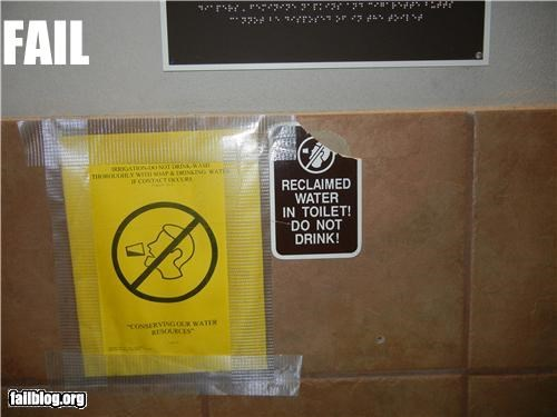 No Drinking Toilet Water