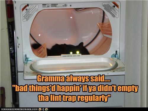 "Gramma always said....   ""bad things'd happin' if ya didn't empty  tha lint trap regularly"""