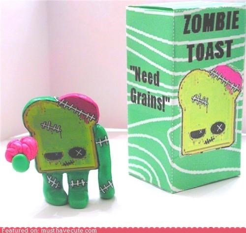 figurine,grains,green,toast,toy,vinyl,zombie