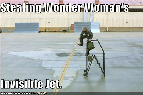Stealing Wonder Woman's  Invisible Jet.