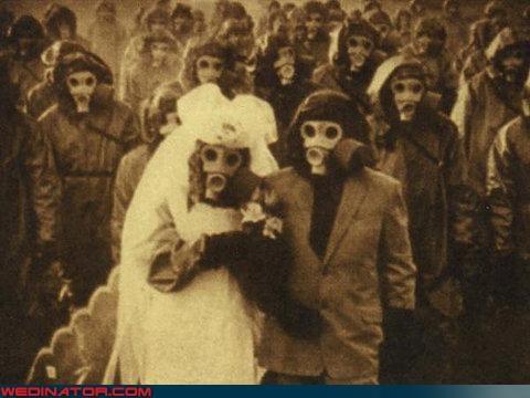 bride,funny wedding photos,gas masks,groom,retro