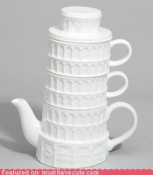 architecture,leaning,pisa,teacups,teapot,tower