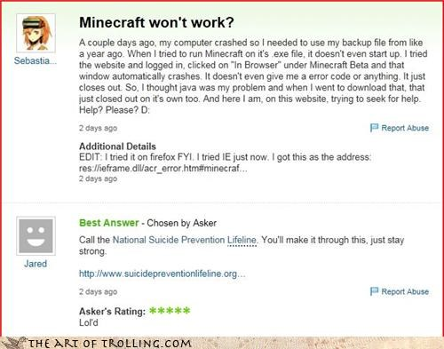 minecraft,suicide,video game,Yahoo Answer Fails