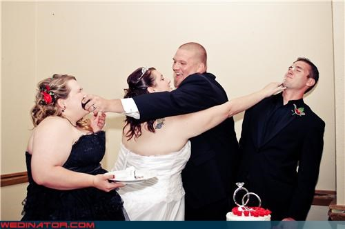 cake,cake face,funny wedding photos