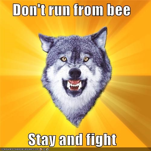 animemes,bee,Courage Wolf,fight,win