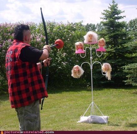 arrow,bow,dolls,heads,practice,william tell