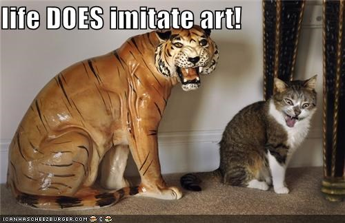 art,caption,captioned,cat,fact,Hall of Fame,imitating,imitation,life,statue,tiger,truth