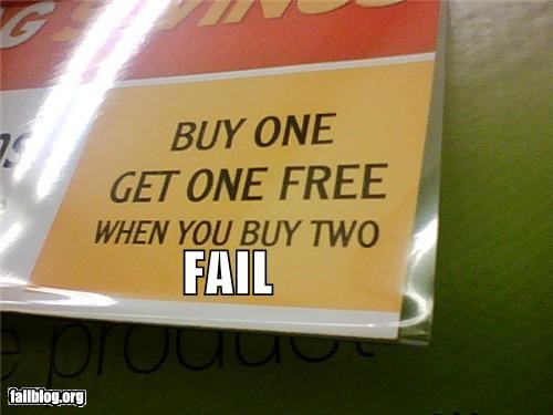 Buy one get one free fail