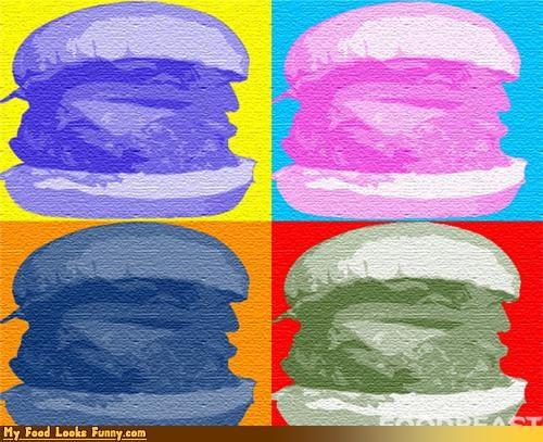 burger,colorful,print,warhol