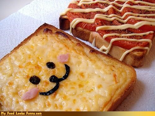 cheese,epicute,face,toast,tomatoes