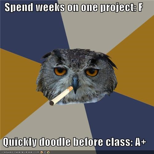 "Art School Owl: This One's Called ""Procrastination"""